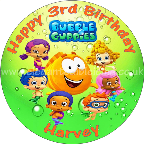 BUBBLE GUPPIES GREEN PERSONALISED EDIBLE ROUND CAKE TOPPER